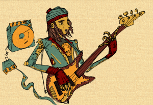 Drawing of Jaco Pastorius